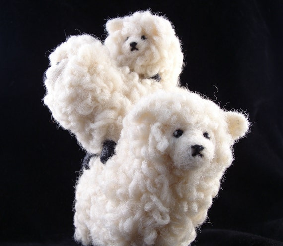 Needle Felted Stack of Sheep - Soft Sculpture Needlefelted Animals by Bella McBride