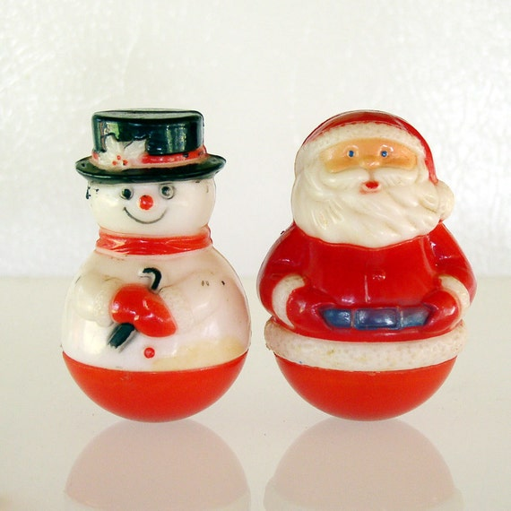 Vintage Roly Poly Hard Plastic Santa Claus & Snowman