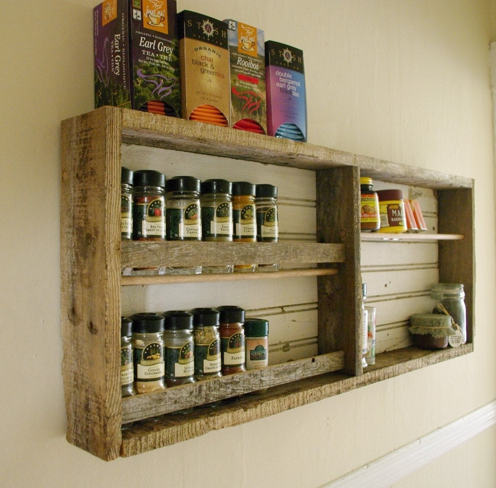 Wall Cabinet Spice Rack: Reclaimed Wood Spice Rack