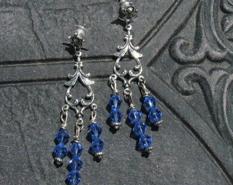 Beneath the Sapphire Moon, Chandelier Sapphire Swarovski Crystal Beaded Earrings by LauriJon Stardust Steampunk(TM)