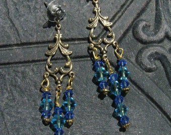 Beneath the Capri Sea - Chandelier Capri Blue and Sapphire Swarovski Crystal Beaded Earrings by LauriJon Stardust Steampunk(TM)