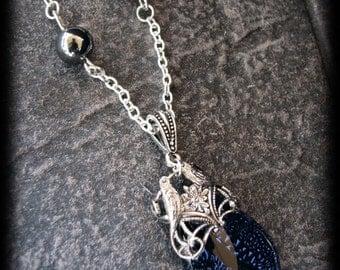 Stunning Celestial Sapphire Blue Dichroic Glass Antiqued Silver Love Bird Necklace Pendant by Lauri Jon Stardust Steampunk(TM)