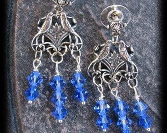 Stunning Sapphire Blue Swarovski Crystal Beaded Love Bird Chandelier Earrings by Lauri Jon Stardust Steampunk(TM)