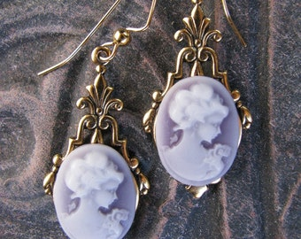 LAVENDER CAMEO Art Deco VICTORIAN Inspired Gold Earrings, Lavender Cameo, Fancy French Wires by Lauri Jon™