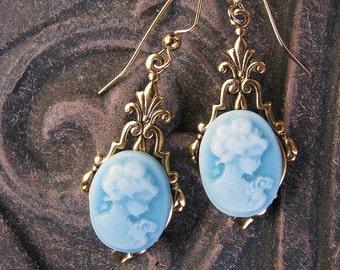 Blue Cameo Art Deco Victorian Inspired antique Gold Earrings by Lauri Jon Studio City (TM)