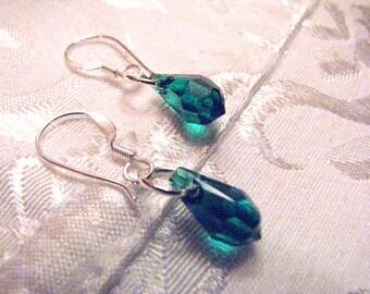 Mon Petite Semi-Precious Emerald Swarovski Crystals 11x5.5mm Earrings Dangle on 925 Sterling Silver Wires by LauriJon Studio City