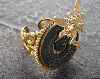 STEAMPUNK Ring, GENUINE FAIRY TOKEN GEAR, by Lauri Jon STARDUST STEAMPUNK(TM), Antiqued Genuine TOKEN - brass WATCH GEAR, Vintage look Filigree adjustable Ring