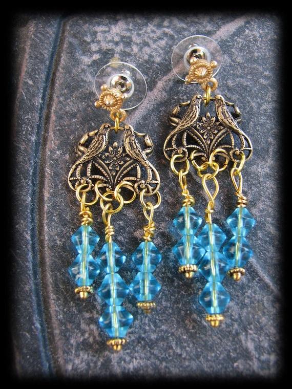 Stunning Capri Blue Swarovski Crystal Beaded Love Bird Chandelier Earrings by Lauri Jon Stardust Steampunk(TM)
