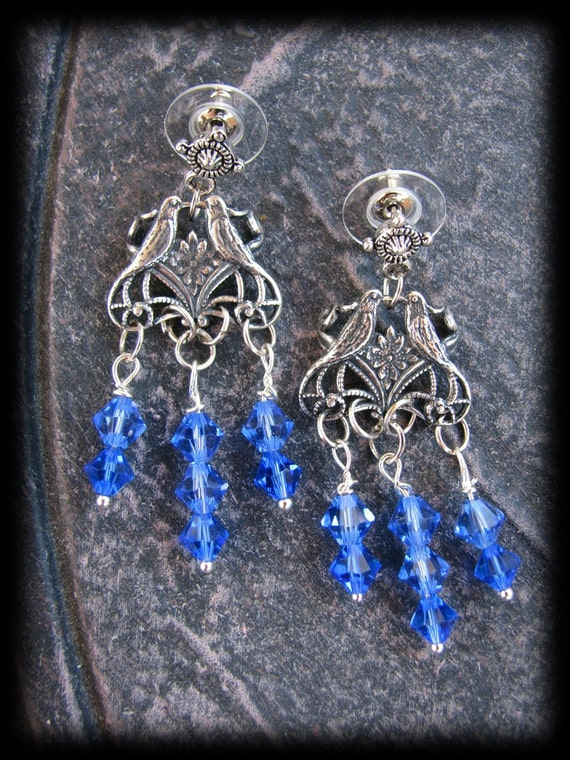Stunning Sapphire Blue Swarovski Crystal Beaded Love Bird Chandelier Earrings by Lauri Jon Stardust Steampunk(TM)