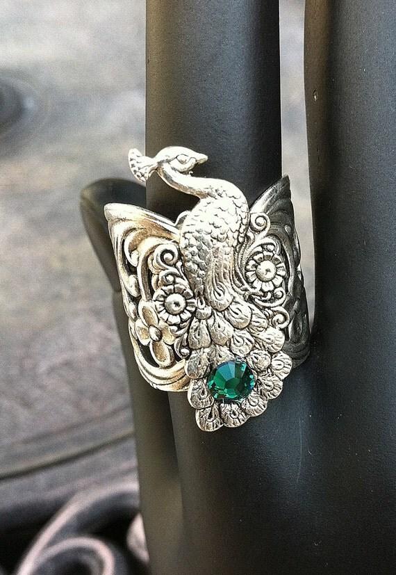 Silver Art Deco Peacock Filigree Adjustable Ring with Emerald Swarovski Crystal by Lauri Jon Studio City(TM)