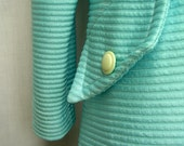 Sky Blue Summer Coat - Crimplene, stripes, uk, light