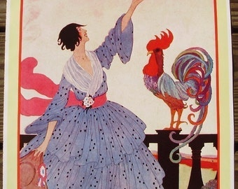 Vintage VOGUE Poster - Hot Weather Fashions Number - July 1918 Cover