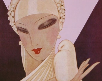 Vintage Vogue Cover Poster - April 1927 - Early Paris Openings and Brides Number