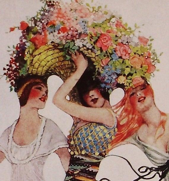 Vintage VOGUE Cover Poster - Fashions for the Traveler European Interests - June 15, 1913