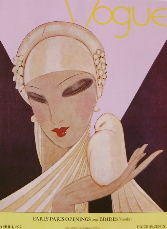Items Similar To Vintage Vogue Cover Poster April 1927