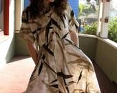 Vintage 70s 80s Hawaiian bamboo Shirtwaist Bombshell Pin-up circle skirt Swing Dress S/M