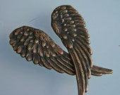 SteamPunk, LARGE OLD WORLD Brass Ox Wings, 2 5/8 Inches Long, Can Be Drilled, Make Great Connectors