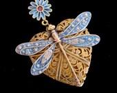 DRAGONFLY LOCKET, FILIGREE, Custom Iridized Wings and Flower Bail
