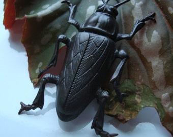 BUG Of BUGS PENDANT, Large Dark Brass Bug, Custom, Very Unique, 2 1/4 Inch