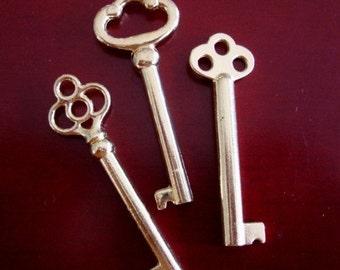 SteamPunk Gothic, Special, 3 SKELETON KEYS, GOLD Tone, Designer Special, Victorian, Vintage