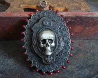 Gothic Skull, I WOULD DIE For You My Love, Quality Custom Pendant, Dark Vintage Patina, Blood Droplets