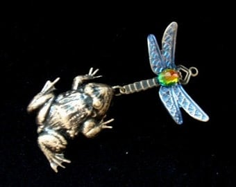 Jewelry Supply, Necklace Pendant, The Fun Is In The Chase, BEJEWELED DRAGONFLY and Frog Pendant, Handmade, USA, Jeweled Pendant