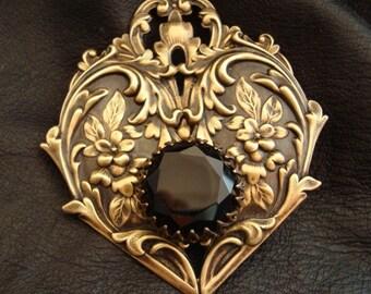 Jewelry Supply, Victorian Design Necklace Pendant, MY HEARTS PRESENT, Vintage Set Jewel, Custom Pendant