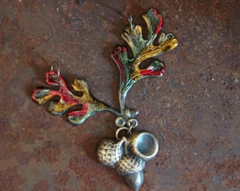 FALL LEAVES And ACORNS, Pendant, Crimpson, Orange, Green Colors, 2 Ring Connector