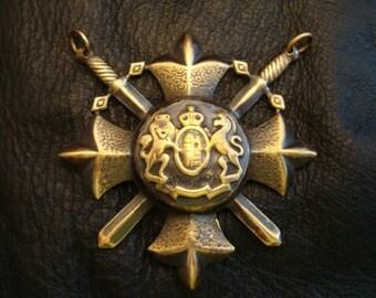 Necklace Supply, RENAISSANCE SWORD SHIELD Cross, Dual Ring Connector, Pendant