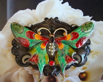 Jewelry Necklace Supply,Large COLORFUL BUTTERFLY Pendant, Enamel Set With Rhinestones, Custom Made in The USA, Exclusive Paradise Findings