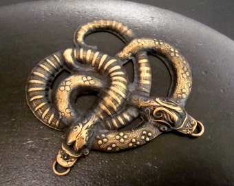 Large Snake Connector Or Pendant, Necklace Supply, 2 Ring Added to Each Snake Mouth, NOT Raw Brass, USA, Ready To Ship