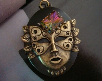JEWELED MASK Locket Or Completed Necklace, Unique, Very Colorful Jewel, Necklace Supply, Original Design Pendant, Custom Handmade, USA