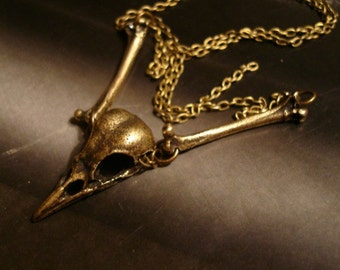 """Bird Skull Necklace, Gothic, Vintage Ox, Skull and Bones, Realistic Look, Choice 16"""" to 24 Inch Chain, Shipped in Gift Box, Original Design"""