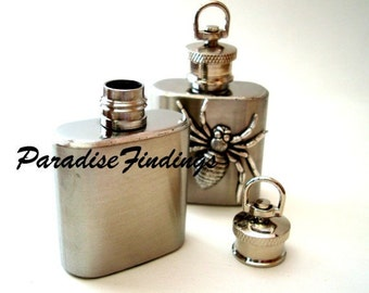 Spider Flask, Silver Vessel Pendant, Stainless Steel Flask Of 1 Oz, Unique Necklace, Poison Container, Liquid Locket,  Great Gift, USA