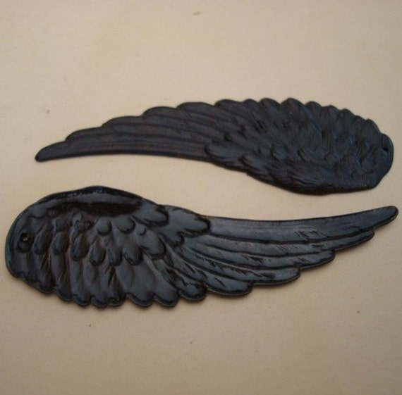 Raven, LARGE DARK WINGS Pendants, 1 Set, Gothic Supply, Will Drill As Directed