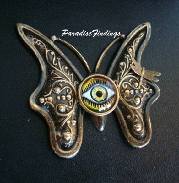 COME FLY With EYE, Butterfly Pendant with Dragonfly, Glass Eye, Iridized