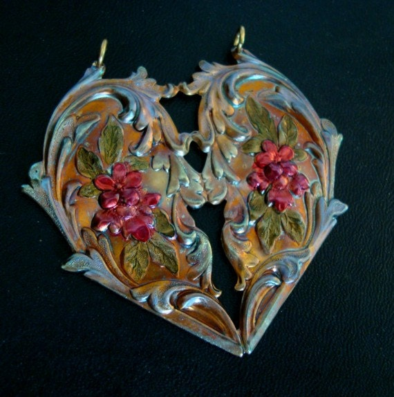 COLORFUL BRASS HEART, Custom Patina, Ornate Heart, Very Unique Coloring
