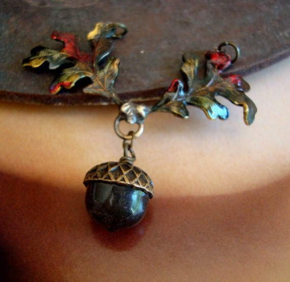 Falls Acorn Pendant, AUTUMN'S BEAUTY, Colorful Leaves, Necklace Supply
