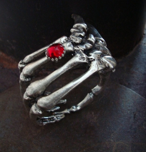 Gothic Skeleton Hand and Blood Ruby Ring Bracelet, GOTHIC GRASP Cuff, Totally Unique, Limited Design