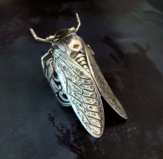 Jewelry Ring, Steampunk Cicada Bug Silver Ox Finish Ring, Adjustable Filigree Design Ring Band, Metal Bonded NOT Glued