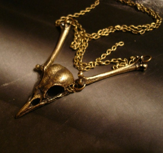 "Bird Skull Necklace, Gothic, Vintage Ox, Skull and Bones, Realistic Look, Choice 16"" to 24 Inch Chain, Shipped in Gift Box, Original Design"