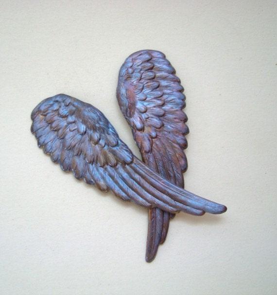 Raven Wings, Iridescent Large Metal Wings, Pendants, Connectors Earrings, ect