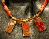 fabric beads, recycled glass and natural wood choker/necklace