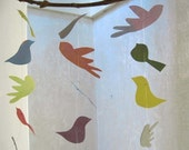 Upcycled birds mobile