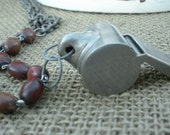Vintage Whistle Rosary Bead Necklace
