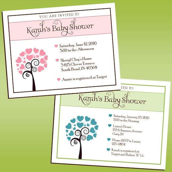 Heart Tree - Baby Shower Invitations (Any Color)