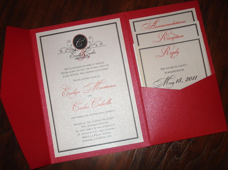 Wedding Invitation Pocket Fold: Love Series Pocketfold Wedding Invitation