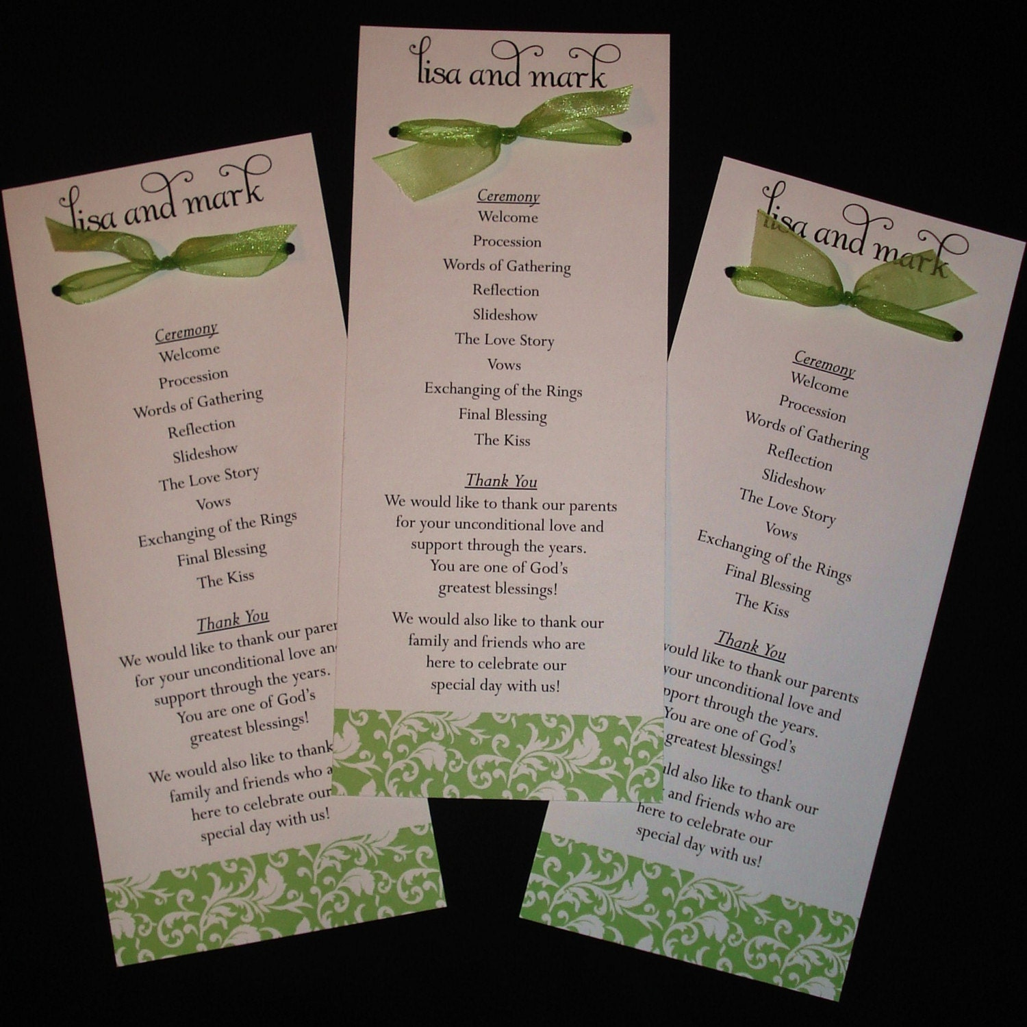 Wedding Programs: Damask Bow Wedding Programs . . . Your Colors