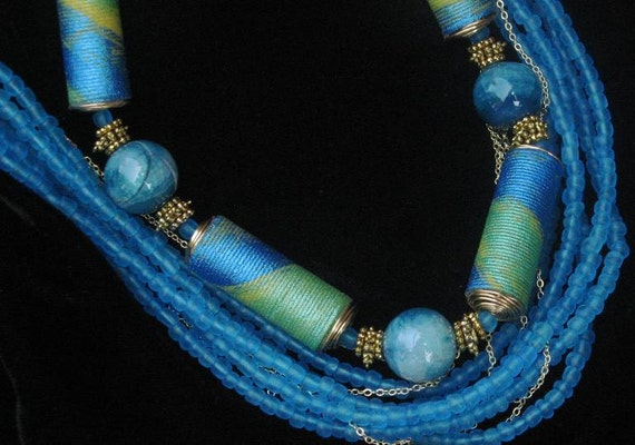 fabric beads, handpainted, necklace, shades of turquoise