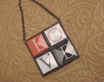 4-square LOVE beveled stained glass keepsake or ornament